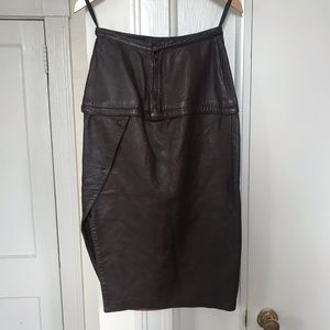 Vintage brown soft leather midi skirt by Maglia